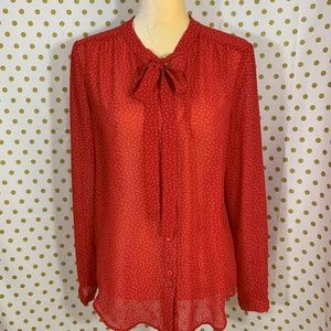 anthropologie red white button front blouse size M